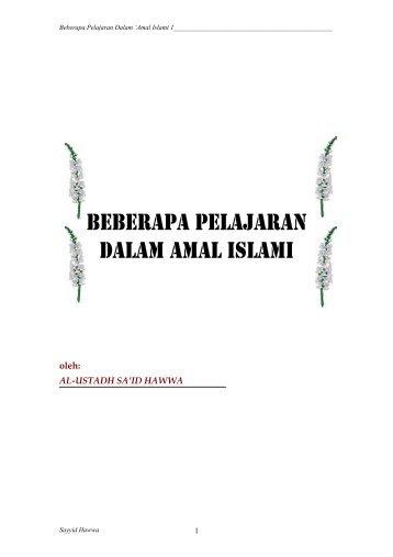 BEBERAPA PELAJARAN DALAM AMAL ISLAMI