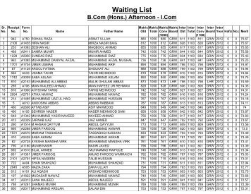 Waiting List