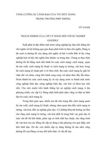 TĂNG CƯỜNG SỰ LÃNH ĐẠO CỦA TỔ CHỨC ĐẢNG - Tạp chí Xây ...