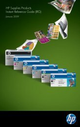 HP Supplies Products Instant Reference Guide (IRG)