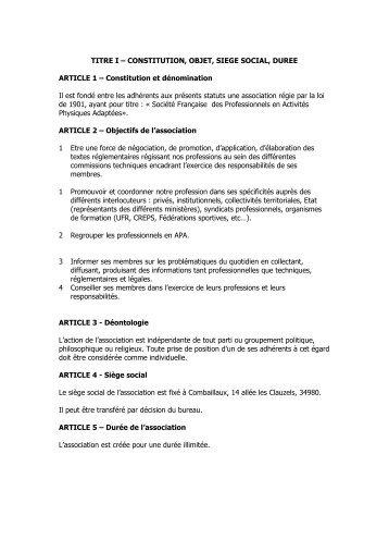 Les statuts de la SFP-APA déposés en préfecture - Activités ...