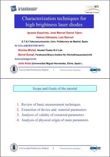 Characterization techniques for high brightness laser diodes