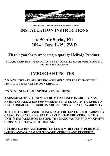 INSTALLATION INSTRUCTIONS 6150 Air Spring Kit ... - CARiD.com