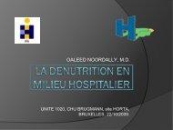 DENUTRITION EN MILIEU HOSPITALIER - CHU Brugmann