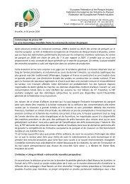 Communiqué de presse FEP La crise économique mondiale freine ...