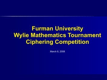 Wylie Mathematics Tournament Ciphering Competition