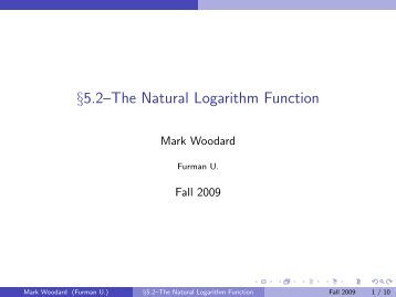 §5.2–The Natural Logarithm Function