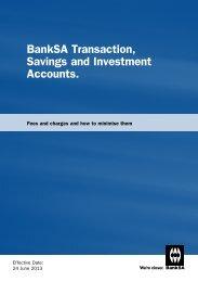 BankSA Transaction Savings and Investment Accounts