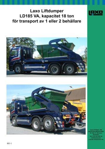 Laxo Liftdumper LD185 VA kapacitet 18 ton för transport av 1 eller 2 behållare