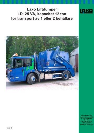 Laxo Liftdumper LD125 VA kapacitet 12 ton för transport av 1 eller 2 behållare