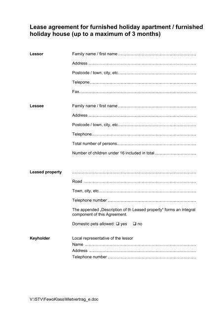 Lease Agreement For Furnished Holiday Apartment Furnished