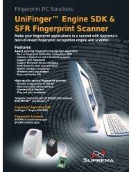 UniFinger Engine SDK & SFR Fingerprint Scanner