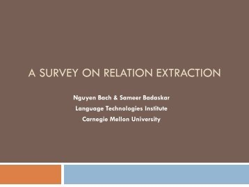 A SURVEY ON RELATION EXTRACTION