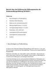 Lagebericht über die Erfüllung des Stiftungszwecks 2010