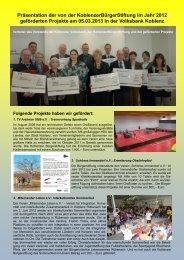 Präsentation der von der KoblenzerBürgerStiftung im Jahr 2012 ...