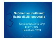 Suomen suunnitelmat lisätä eläviä luovuttajia