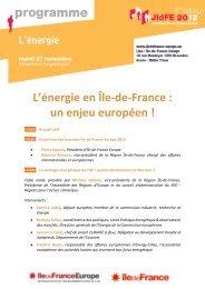 L'énergie en Île-de-France  un enjeu européen !