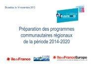 Préparation des programmes communautaires régionaux de la période 2014-2020