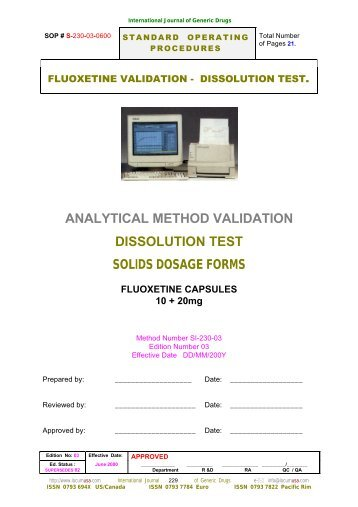ANALYTICAL METHOD VALIDATION DISSOLUTION TEST SOLIDS DOSAGE FORMS