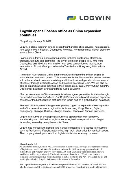 Logwin opens Foshan office as China expansion continues
