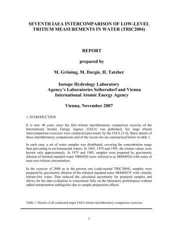 seventh iaea intercomparison of low-level tritium - Nuclear Sciences ...