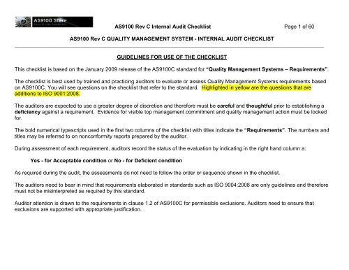 AS9100 Rev C Internal Audit Checklist Page 1 of 60     - Techstreet