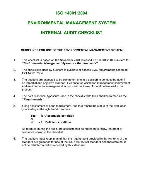 ISO 14001:2004 ENVIRONMENTAL MANAGEMENT SYSTEM INTERNAL AUDIT CHECKLIST