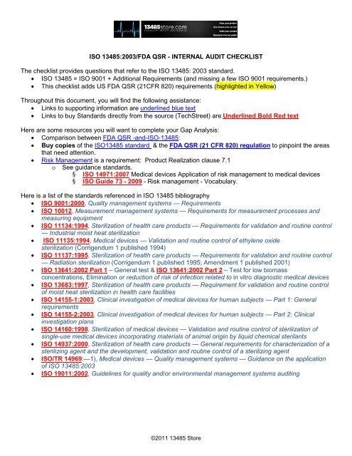 13485-FDA Internal Audit Checklist - Techstreet