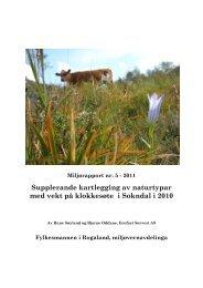 Supplerande kartlegging av naturtypar med vekt på klokkesøte i Sokndal i 2010