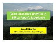 Socio-economic activities in SEPLs Japan's Experience
