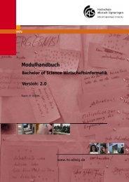 Modulhandbuch Bachelor of Science Wirtschaftsinformatik Version