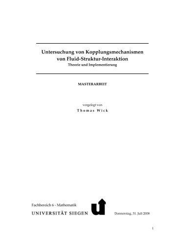 Untersuchung von Kopplungsmechanismen von Fluid-Struktur ...