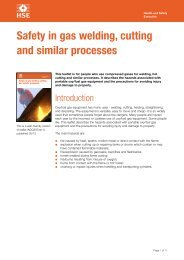 Safety in gas welding, cutting and similar processes - HSE