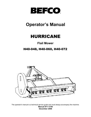 Operator's Manual SICKLE BAR MOWERS