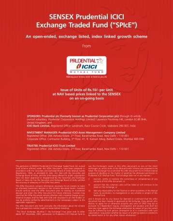 "SENSEX Prudential ICICI Exchange Traded Fund (""SPIcE"")"