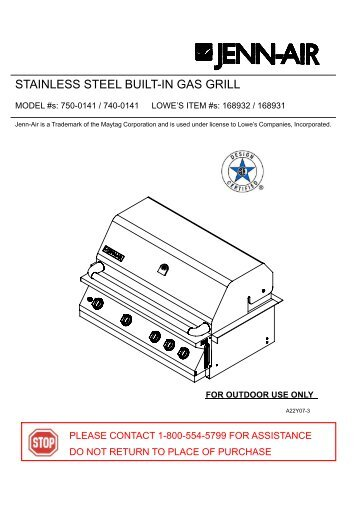 STAINLESS STEEL BUILT-IN GAS GRILL