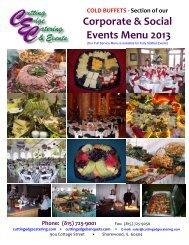 Corporate & Social Events Menu 2013