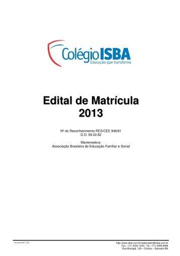 Edital de Matrícula 2013