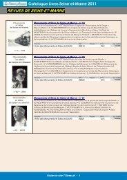 Catalogue Livres Seine-et-Marne 2011 REVUES DE SEINE-ET-MARNE