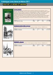 Catalogue Livres Seine-et-Marne 2011 SUD DE LA SEINE-ET-MARNE