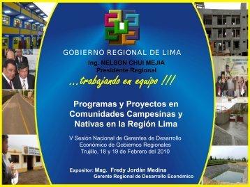 Programas y Proyectos en Comunidades Campesinas y Nativas en la Región Lima