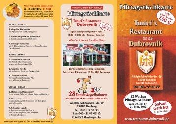 Mittagstischkarte - Restaurant Tunicis Dubrovnik
