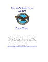 P&W Tool & Supply Sheets July 2012 Pratt & Whitney