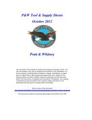 P&W Tool & Supply Sheets October 2012 Pratt & Whitney