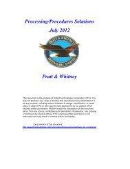 Processing/Procedures Solutions July 2012 Pratt & Whitney