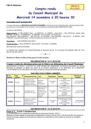 Compte-rendu du Conseil Municipal du Mercredi 14 novembre à 20 heures 30