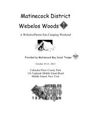 Matinecock District Webelos Woods - Suffolk County Council