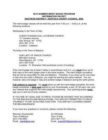 2012 SUMMER MERIT BADGE PROGRAM INFORMATION ...