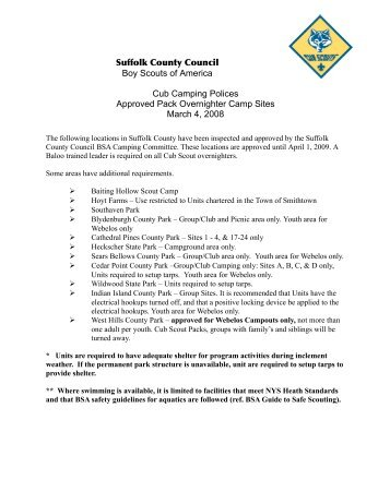 Approved Cub Camping Sites - Suffolk County Council