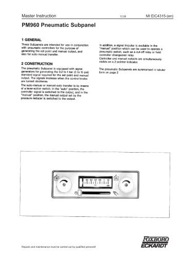 PM960 Pneumatic Subpanel - Foxboro Eckardt